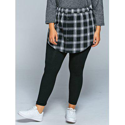 Buy BLACK Slimming Plaid Faux Twinset Pants for $28.11 in GearBest store