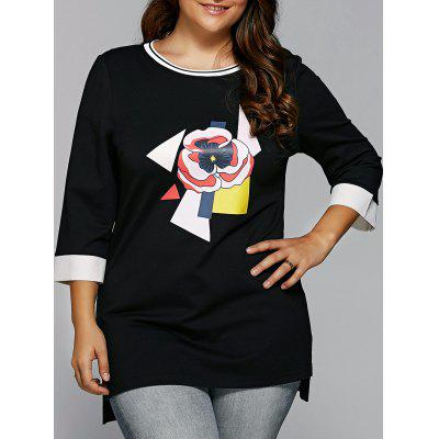 Spliced Flower Applique Asymmetric T-Shirt
