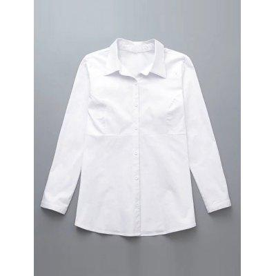 Plus Size Back Ruched Buttoned Shirt
