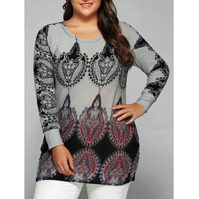 Round Collar Ethnic Print T-Shirt