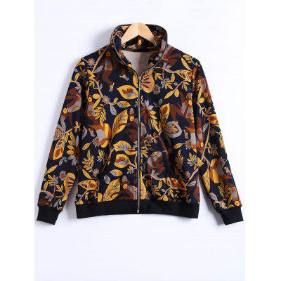 Plus Size Plant Print Zippered Jacket