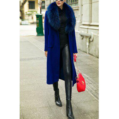 Faux Fur Collar Wool Blend Long Coat
