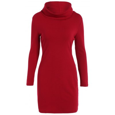 Wool Blend Turtleneck Mini Sheath Dress