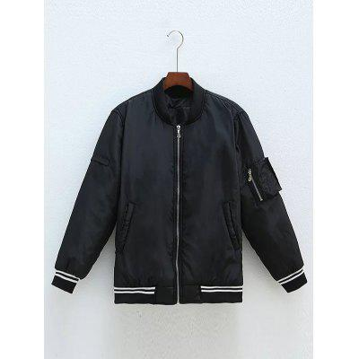 Plus Size Zipped Back Letter Bomber Jacket