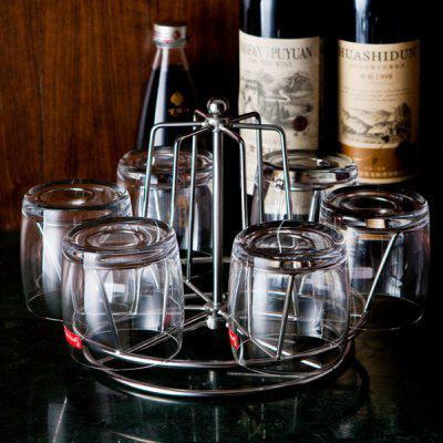 Home Decor Stainless Steel 6 Water Glasses Rotation Rack