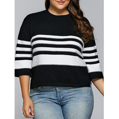 Buy WHITE AND BLACK XL Striped Side Slit Pullover Knitwear for $33.36 in GearBest store