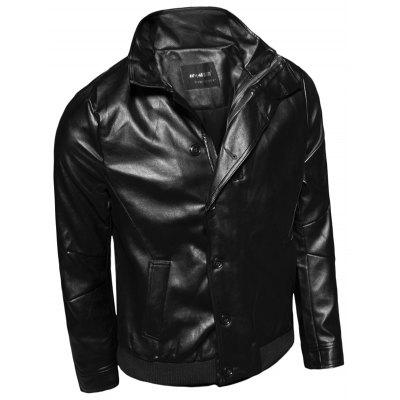 Stand Collar Single-Breasted Zip-Up PU-Leather Jacket