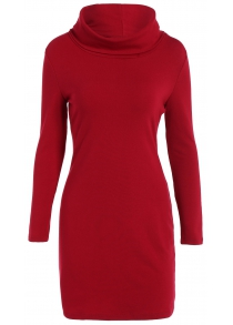 Bodycon Mini Polar Neck Jumper Dress