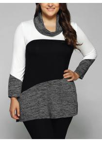 Plus Size Cowl Neck Spliced Heathered Blouse