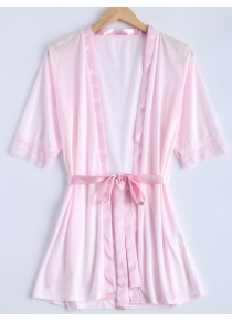 Transparent Belted Lace Panel Sleepwear