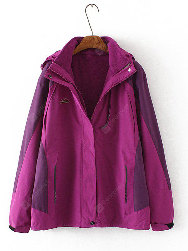 Plus Size Flocking Hooded Jacket 6XL PURPLE