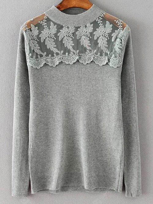 Dentelle Spliced ​​lâche Sweater