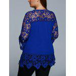 cheap Lace Spliced Hollow Out Plus Size Blouse