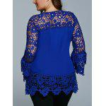 best Lace Spliced Hollow Out Plus Size Blouse