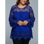 Lace Spliced Hollow Out Plus Size Blouse deal