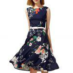 Floral Print Fit and Flare Midi Dress - PURPLISH BLUE