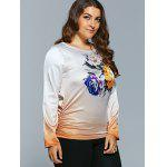Casual Flower Print Ombre Satin Long Sleeve T-Shirt for sale