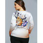 best Casual Flower Print Ombre Satin Long Sleeve T-Shirt