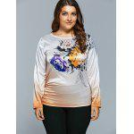 Casual Flower Print Ombre Satin Long Sleeve T-Shirt deal