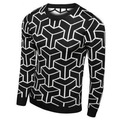 Crew Neck Geometric Print Long Sleeve Sweater