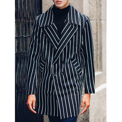 Side Pocket Lapel Double Breasted Striped Coat