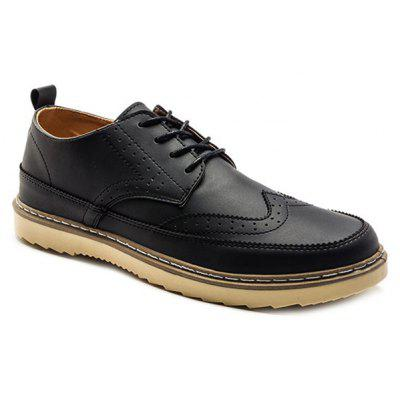 Lace-Up Engraving Dark Colour Casual Shoes
