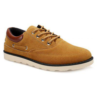 Splicing Suede Tie Up Casual Shoes