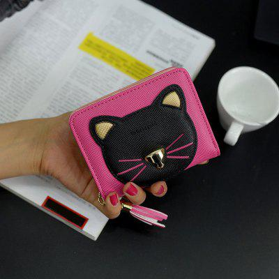 Cat Head Pattern Tassels Bi-Fold Mini Wallet