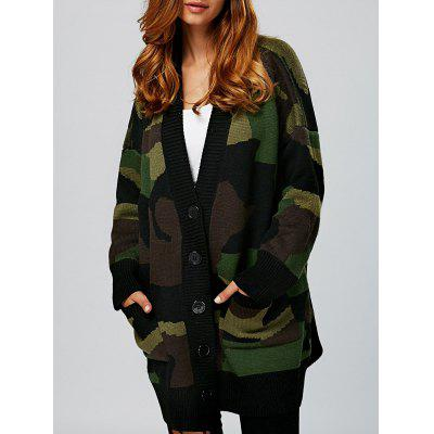 Single Breasted Design Double Pockets Cardigan
