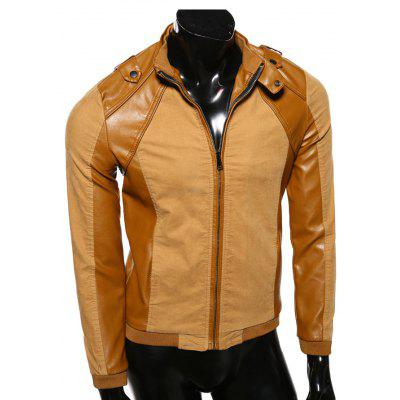 Buy EARTHY Stand Collar PU-Leather Splicing Epaulet Design Jacket for $49.88 in GearBest store