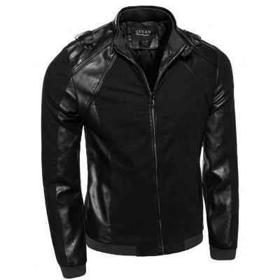 Stand Collar PU-Leather Splicing Epaulet Design Jacket