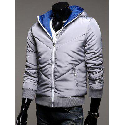 Hooded Rib Splicing Zip-Up Padded Jacket
