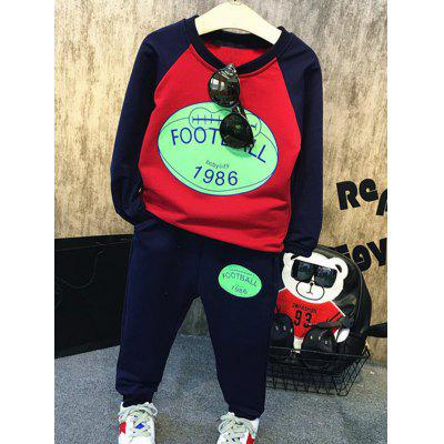 Color Block Letter Printed Sweatshirt + Elastic Waist Pants