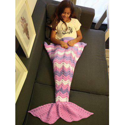 Comfortable Knitting Openwork Color Block Mermaid Blanket