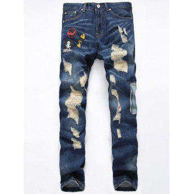 Buy DENIM BLUE Straight Leg Applique Design Distressed Jeans for $34.75 in GearBest store