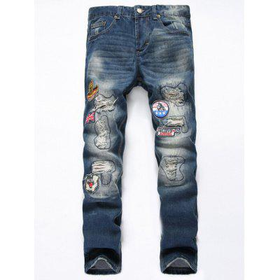 Buy DENIM BLUE Straight Leg Flag Applique Distressed Jeans for $37.44 in GearBest store