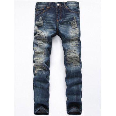 Buy DENIM BLUE Zipper Fly Straight Leg Frayed Jeans for $34.75 in GearBest store