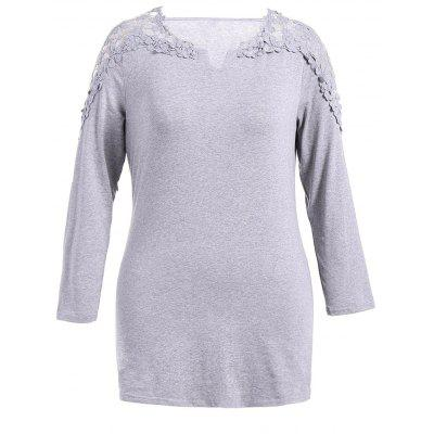 Casual Openwork Lace Long Sleeve Dress
