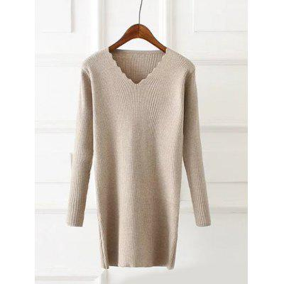 Plus Size Wavy Cut Ribbed Pullover