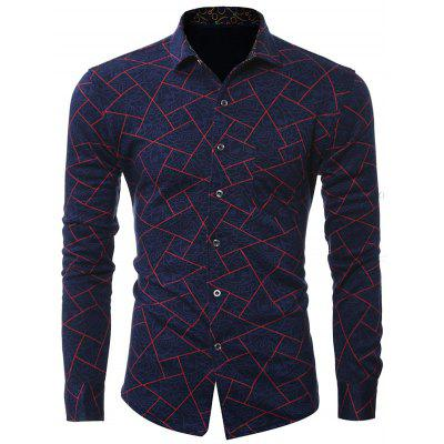 Plus Size Geometric Imprimir Turn-Down Collar Long Sleeve Shirt