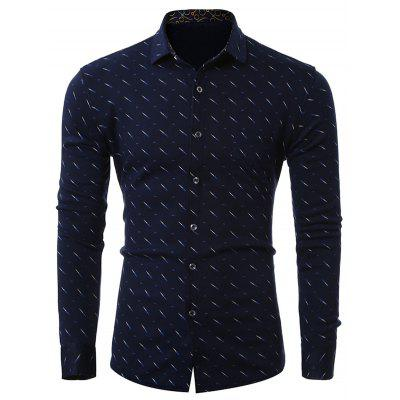 Buy CADETBLUE Print Turn-Down Collar Long Sleeve Plus Size Shirt for $18.60 in GearBest store
