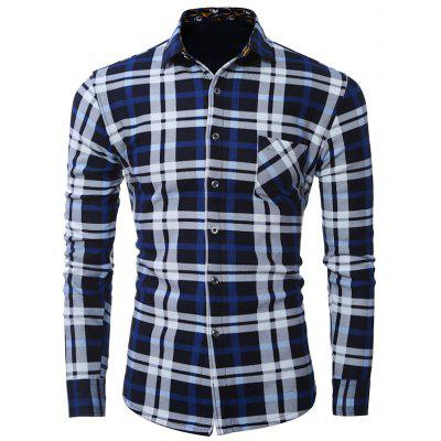 Plus Size Pocket Embellished Long Sleeve Plaid Shirt