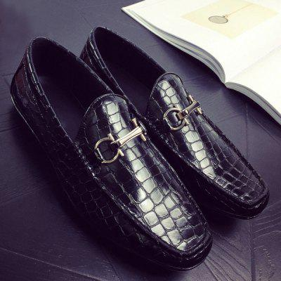 Plaid Pattern Embossing PU Leather Casual Shoes
