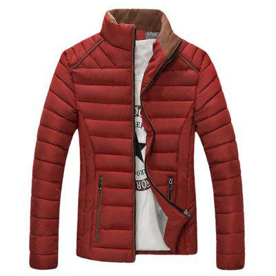 Stand Collar Corduroy Spliced Zip-Up Down Jacket