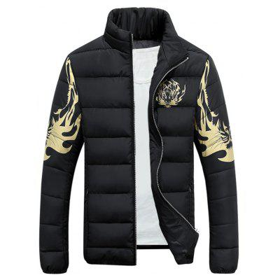 Stand Collar Tiger Print Zip-Up Down Jacket