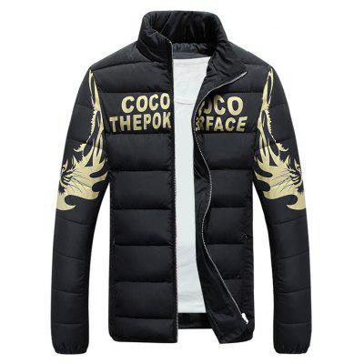 Stand Collar Tiger and Graphic Print Zip-Up Down Jacket
