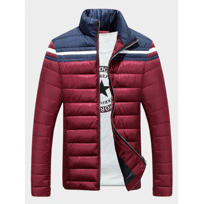 Stand Collar Color Block Splicing Stripe Zip-Up Down Jacket