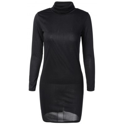 Knit Turtleneck Ribbed Fitted Sweater Dress