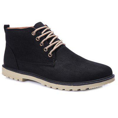 Suede Dark Color Tie Up Casual Shoes
