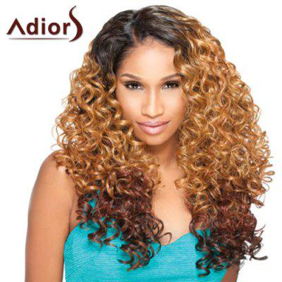 Long Side Parting Fluffy Curly Double Color Adiors Synthetic Wig